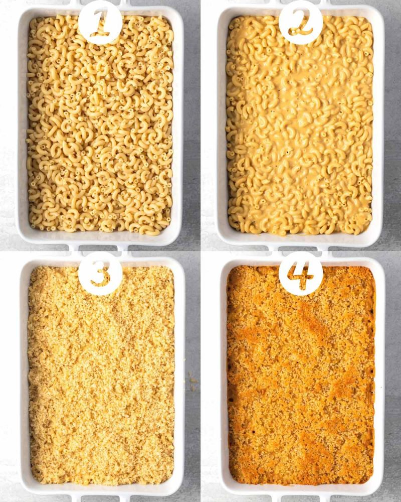 A step-by-step collage of 4 images. 1) macaroni noodles in a baking pan. 2) cheese sauce mixed in. 3) topped with breadcrumbs. 4) fresh out of the oven with a golden brown top.