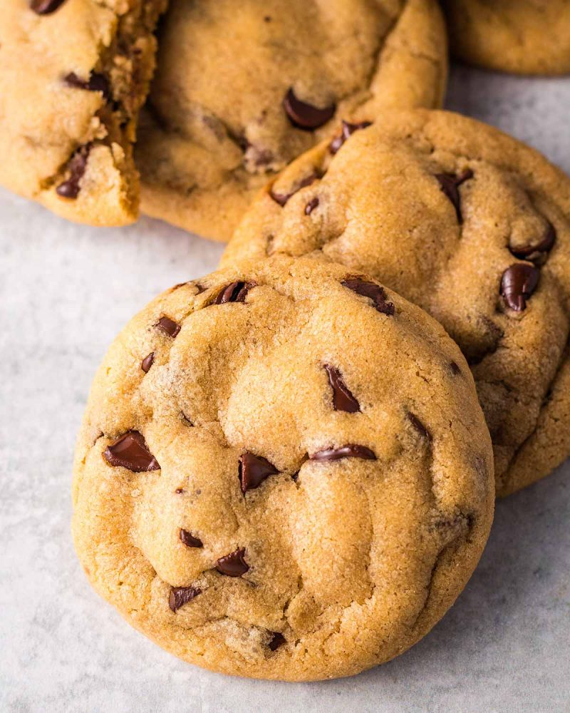 A small pile of vegan chocolate chip cookies.