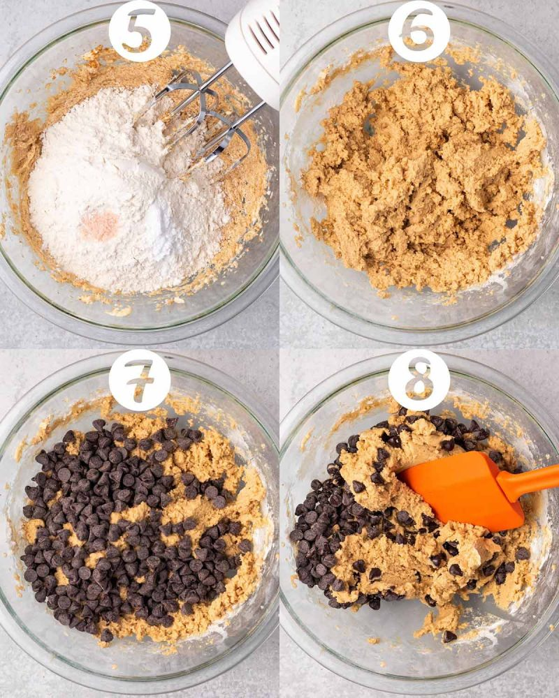 A collage of steps 5-8 for making chocolate chip cookies. 5) Flour, baking soda, and salt added to the bowl. 6) A mixed up. 7) Chocolate chips added to the bowl. 8) Chocolate chips being mixed in with an orange spatula.