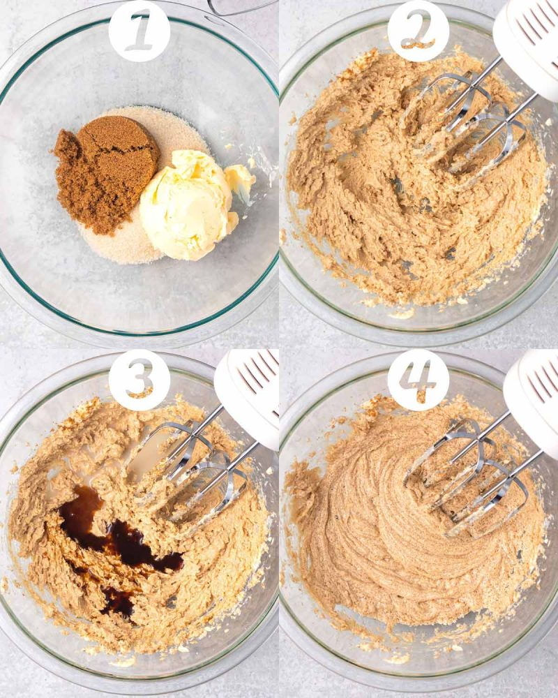 A collage of steps 1-4 for making cookies. 1) Sugar and butter added to a mixing bowl. 2) All mixed up with a hand mixer. 3) Vanilla extract and non-dairy milk added to the bowl. 4) All mixed up.