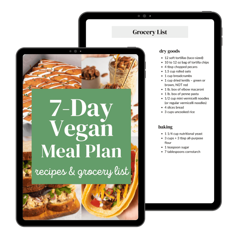 iPad mockup image of the 7 Day Vegan Meal Plan eBook