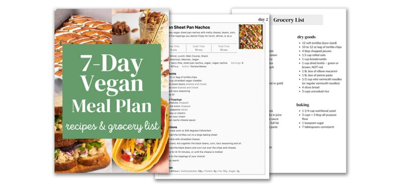 Example images of the printable meal plan.