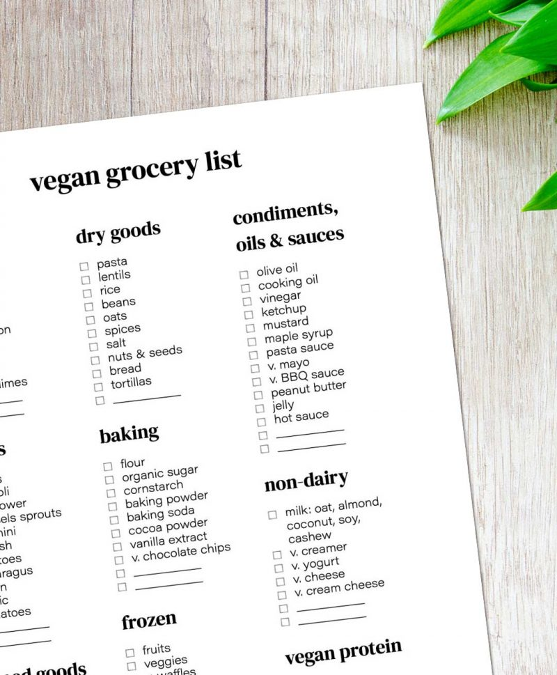 Vegan shopping list on a table.