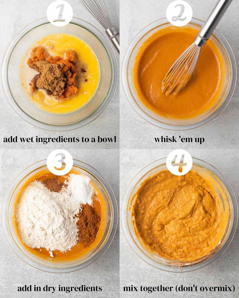 A numbered collage of steps of making the pumpkin pancakes. 1) Add wet ingredients to bowl. 2) Whisk 'em up. 3) Add in dry ingredients. 4) Mix together (don't overmix)