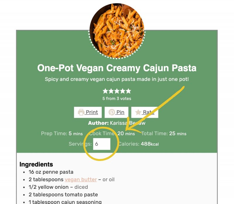 "A screenshot of a recipe card showing how to change the serving size by manually typing the number in ""servings"" box."