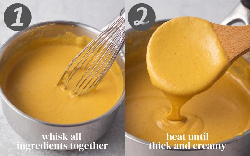 """Collage of two photos showing how to make the dairy-free cheese sauce. Both show the cheese in a pot. The second shows a spoon dipping in. 1) """"Whisk all ingredients together"""" 2) """"Heat until thick and creamy"""""""