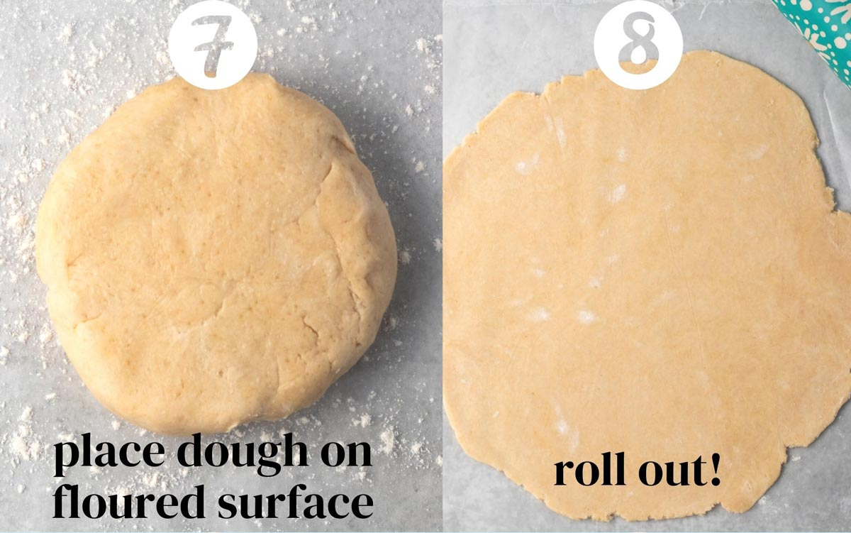 7) Place dough on flour surface. 8) Roll out!