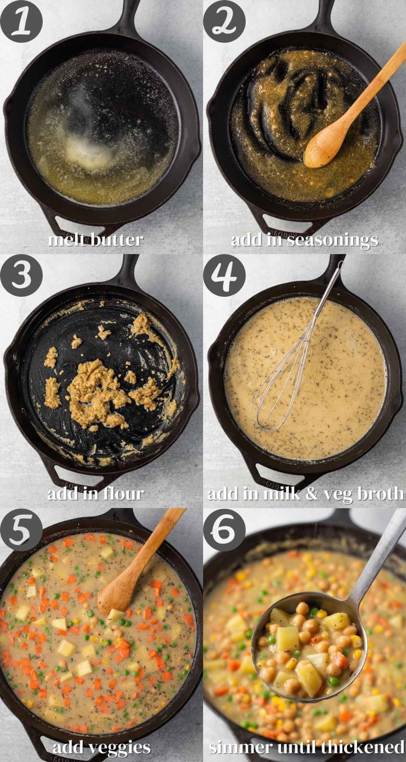Collage of steps for making vegetable pot pie filling. 1) Melt better 2) Add in seasonings 3) Add in flour 4) Add in milk and veg broth 5) Add veggies 6) Simmer until thickened