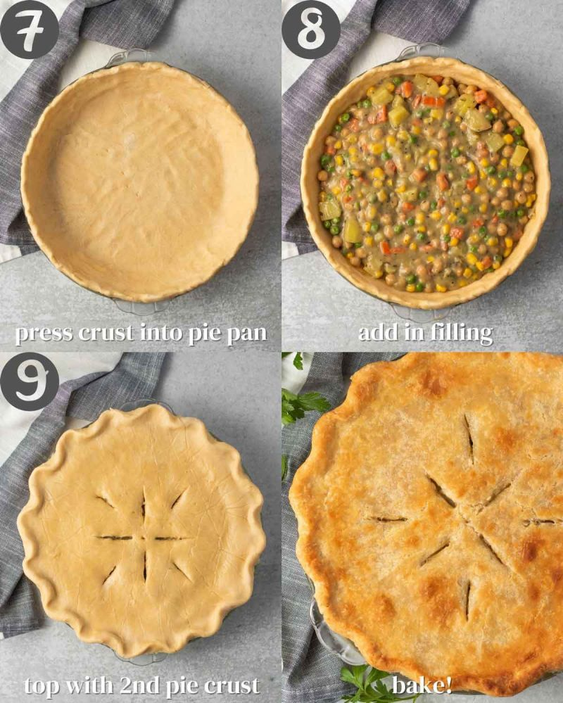 "Collage of steps for assembling ""chicken"" pot pie 7) Press crust into pan. 8) Add in filling. 9) Top with 2nd pie crust. 10) Bake!"