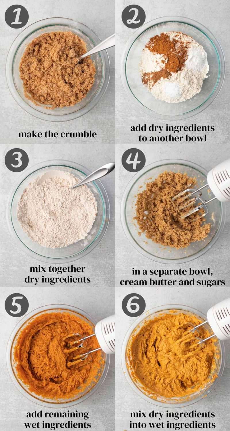 A collage of process steps. 1) Make the crumble. 2) Add dry ingredients to another bowl. 3) Mix together dry ingredients. 4) In a separate bowl, cream butter and sugars. 5) Add remaining wet ingredients. 6) Mix dry ingredients into wet ingredients.