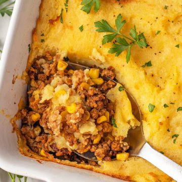 A spoonful of shepherd's pie.