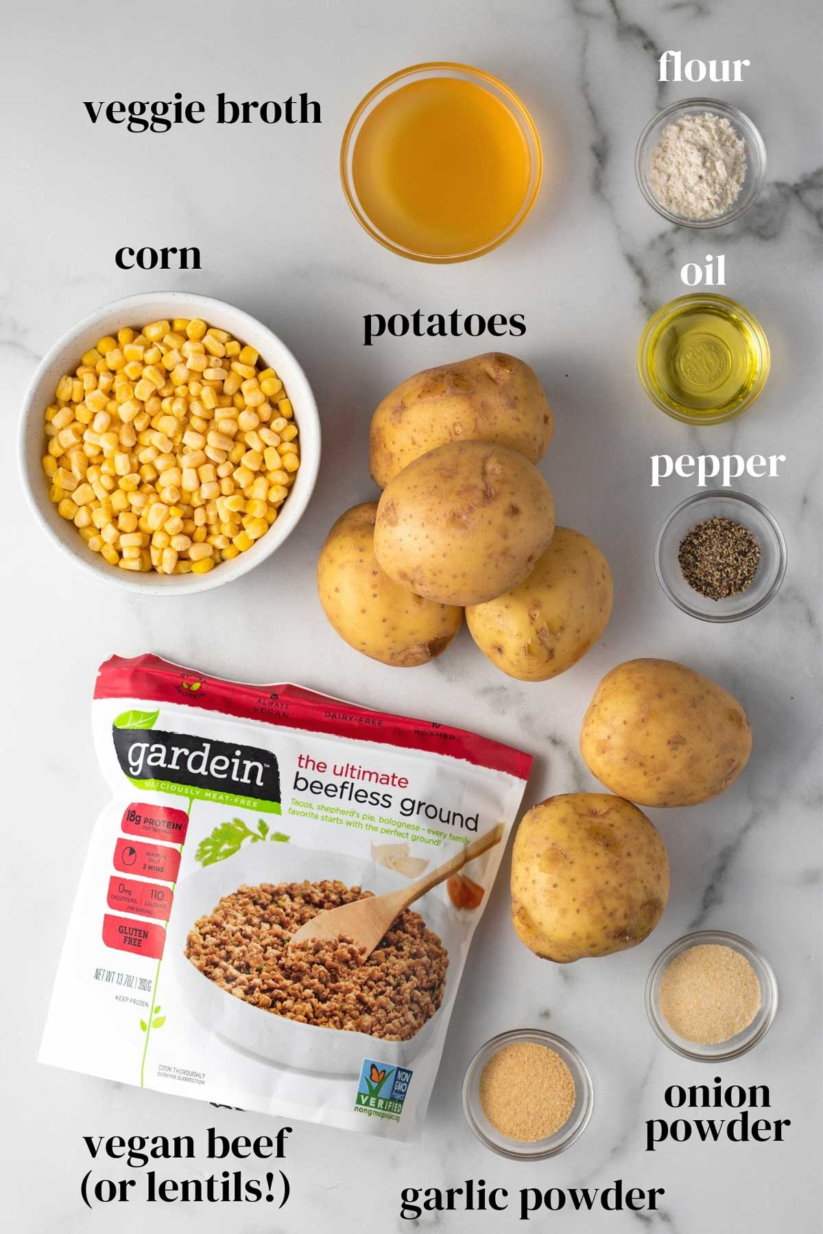 Ingredients for vegan shepherd\'s pie.