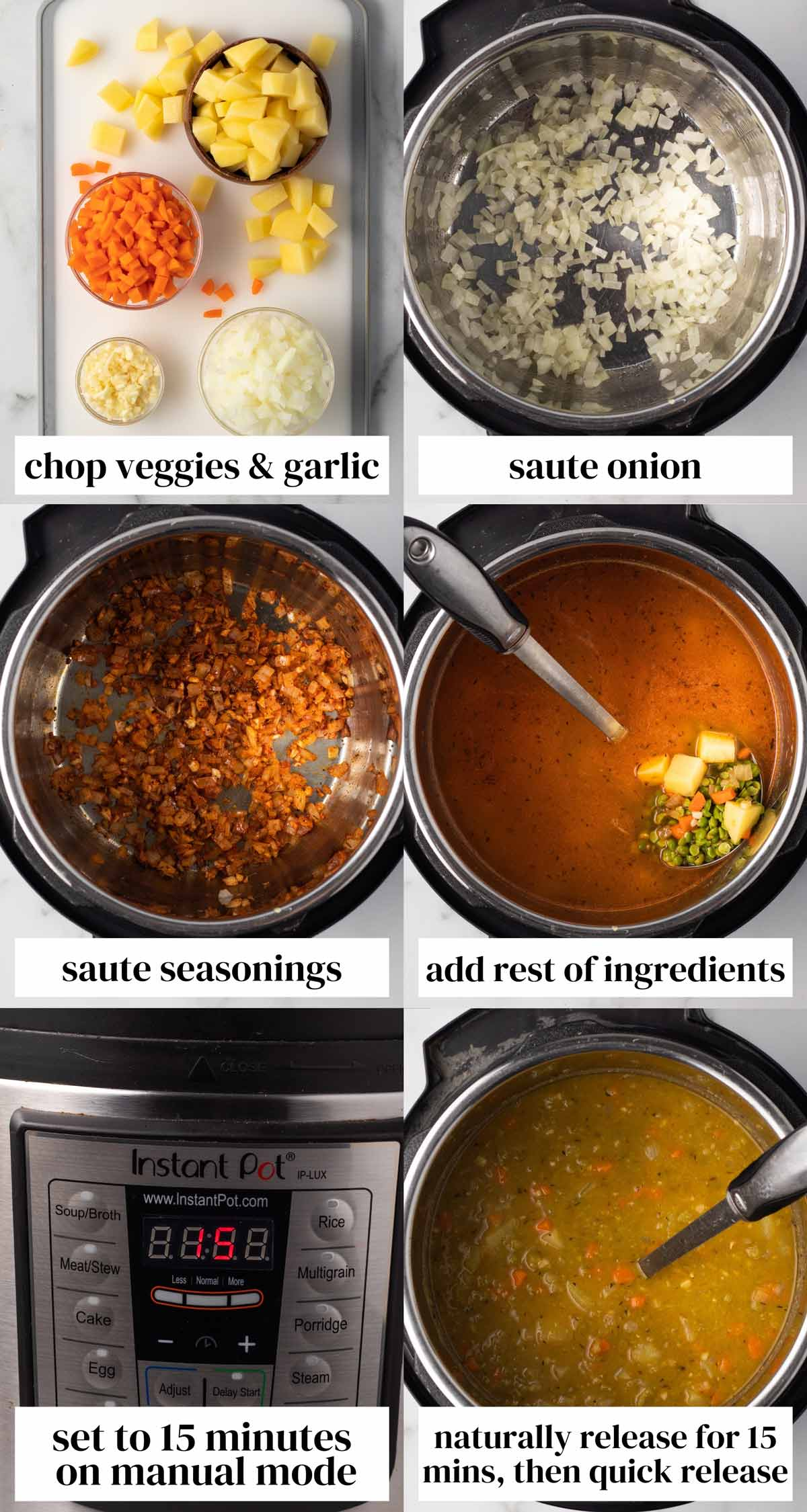 Step by step collage of how to make the soup.
