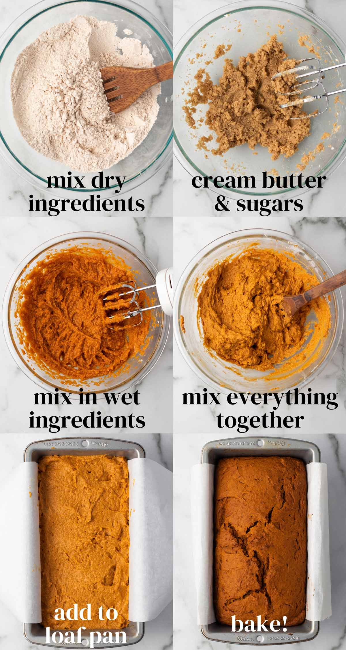 Step-by-step collage: 1) Mix dry ingredients. 2) Cream butter and sugars. 3) Mix in wet ingredients. 4) Mix everything together. 5) Add to loaf pan. 6) Bake!