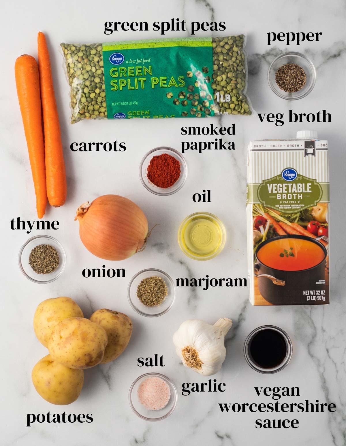 An overhead shot of ingredients for vegan split pea soup.