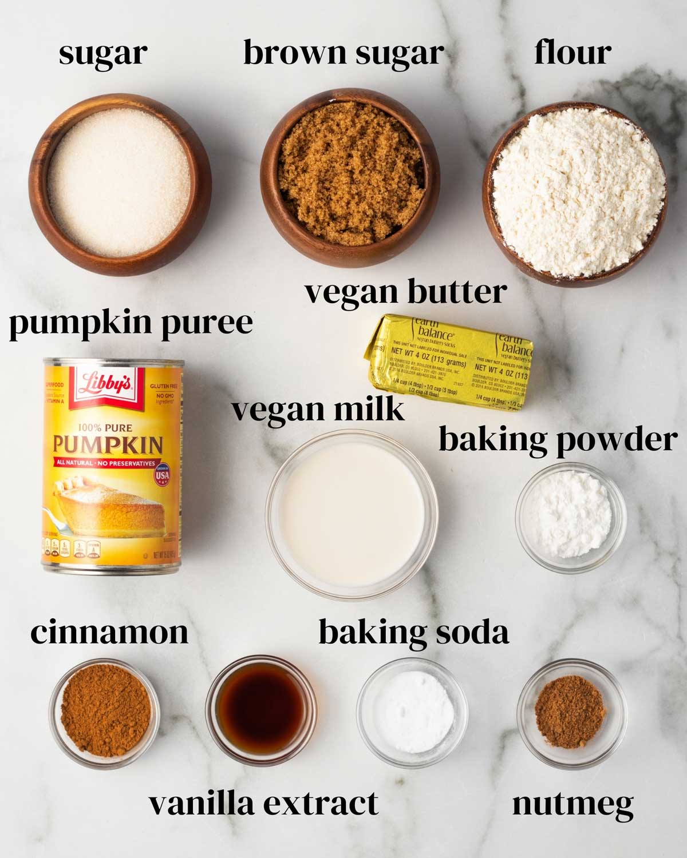 Ingredients laid out on a surface: sugar, brown sugar, flour, pumpkin puree, vegan butter, vegan milk, baking powder, cinnamon, baking soda, and nutmeg.