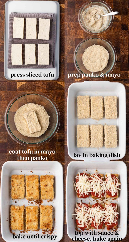 steps to make crispy tofu parmesan with panko and mozzarella cheese