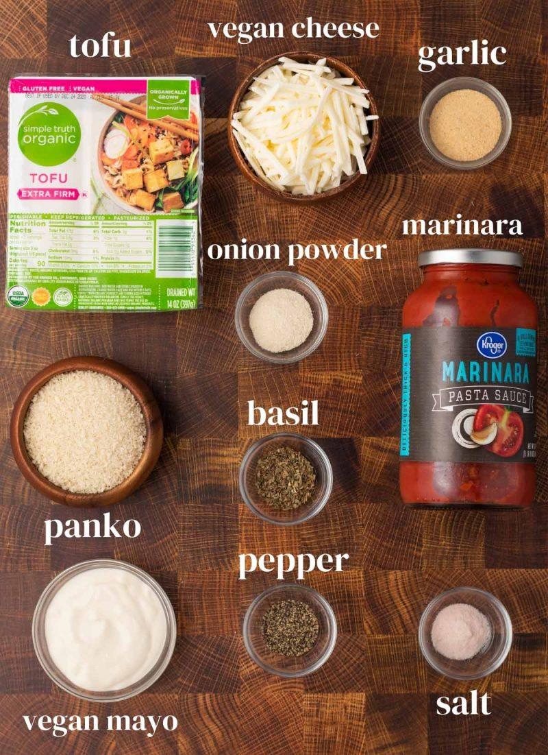 ingredients for vegan tofu parmesan