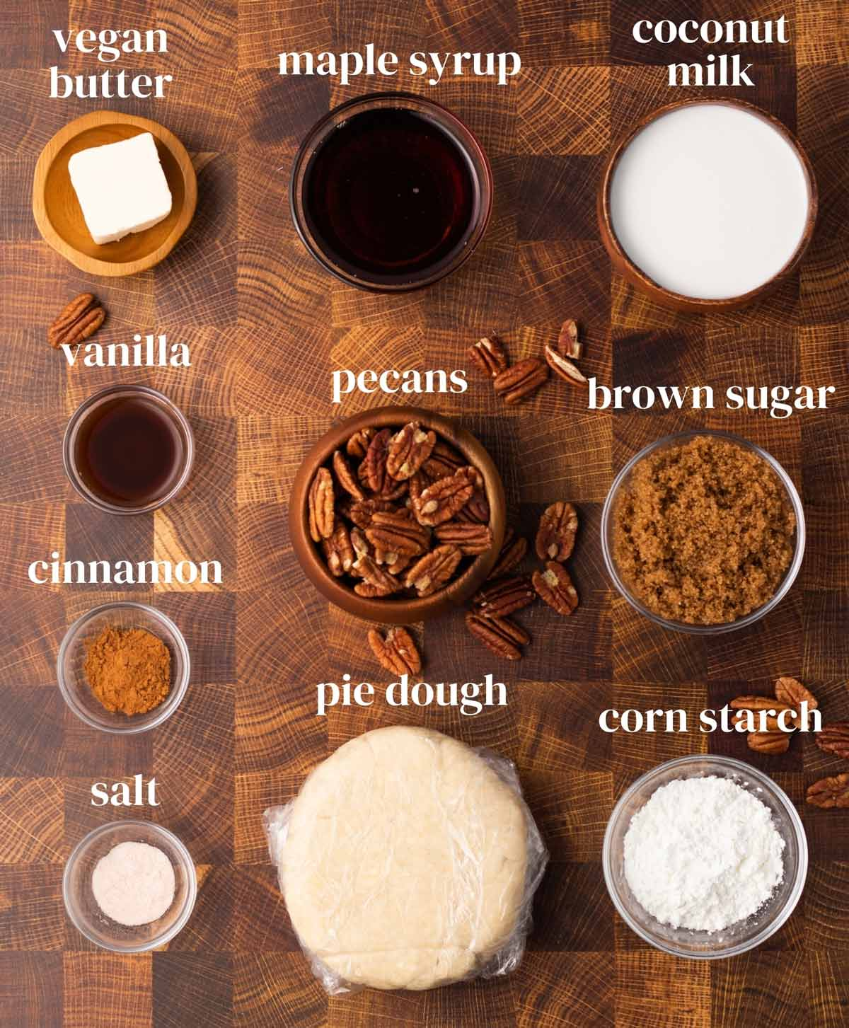 ingredients for vegan pecan pie: dough, pecans, brown sugar, salt, cinnamon, vanilla extract