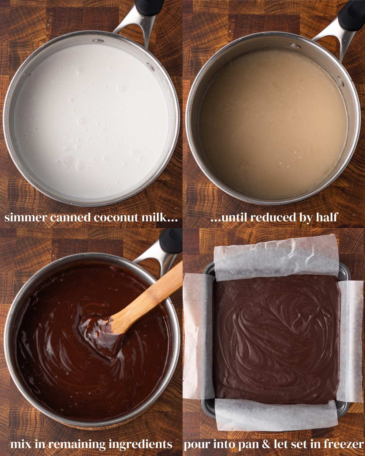 Step-by-step collage of how to make fudge without a candy thermometer.