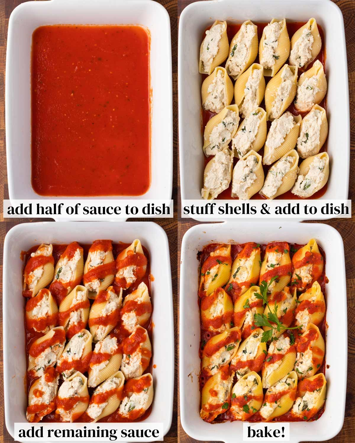 steps to assemble vegan stuffed shells with tomato sauce in a white baking dish