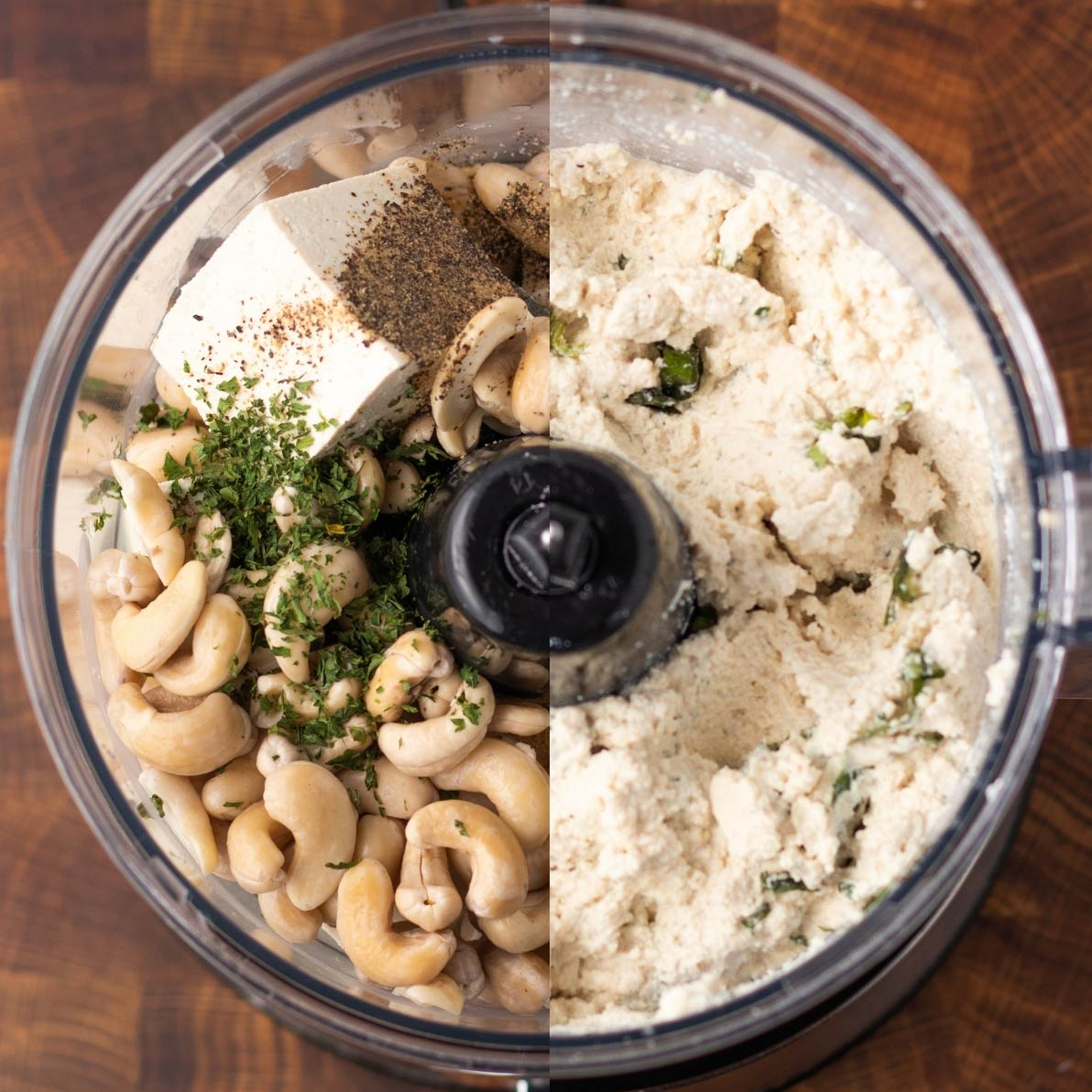 overhead of a food processor with half of the unblended ingredients and half creamy blended vegan ricotta.