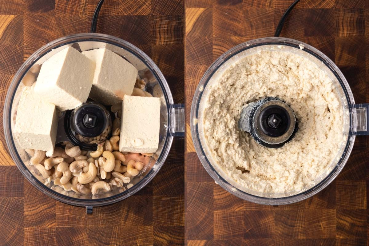 food processor blending vegan ricotta cheese with tofu and cashews