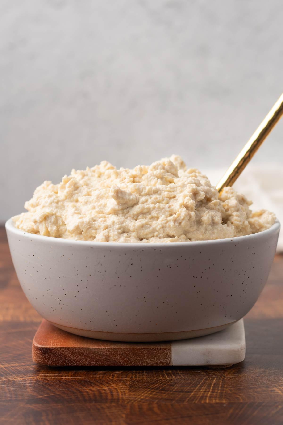white bowl with vegan ricotta cheese