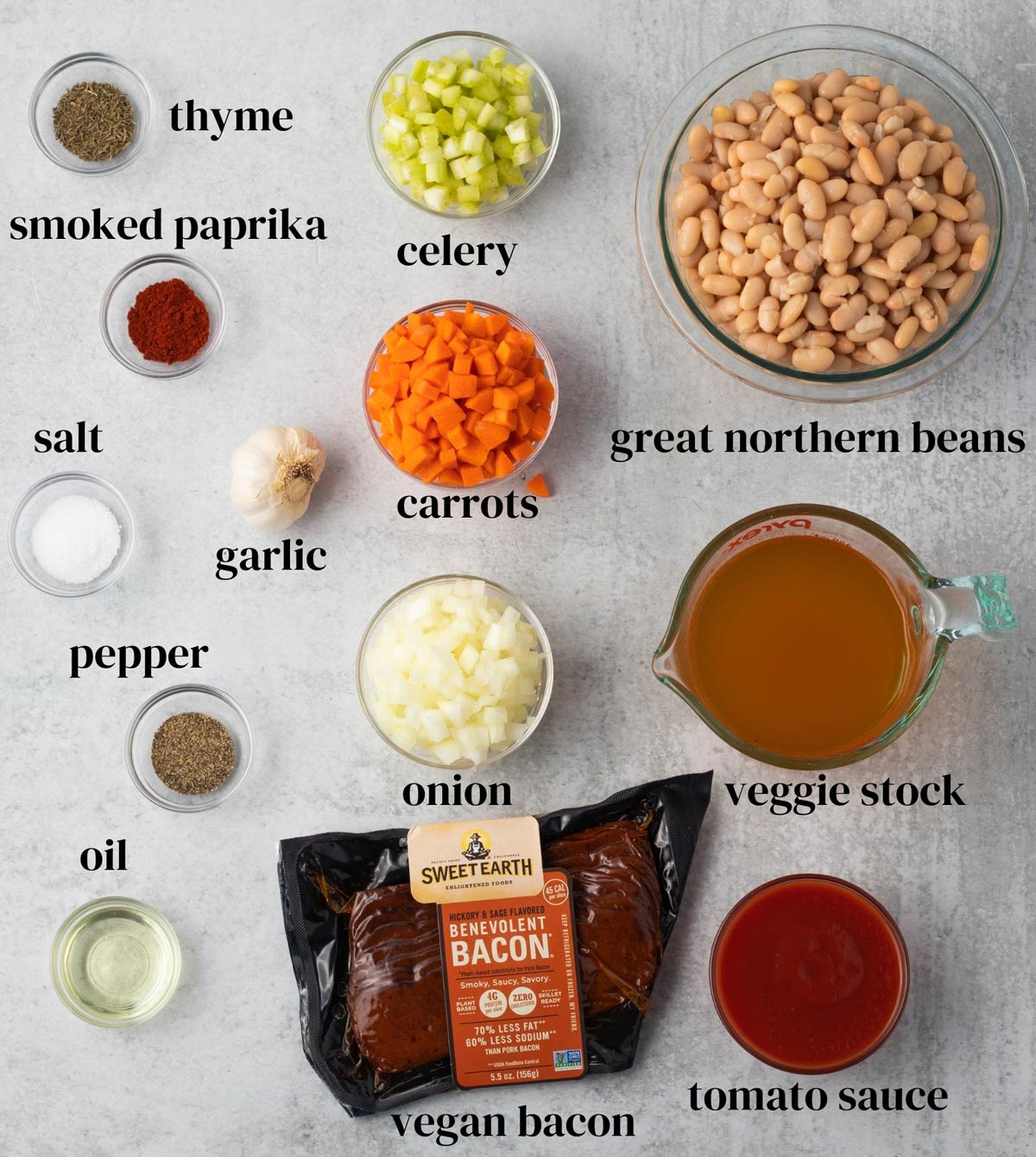 ingredients for vegan bean and bacon soup