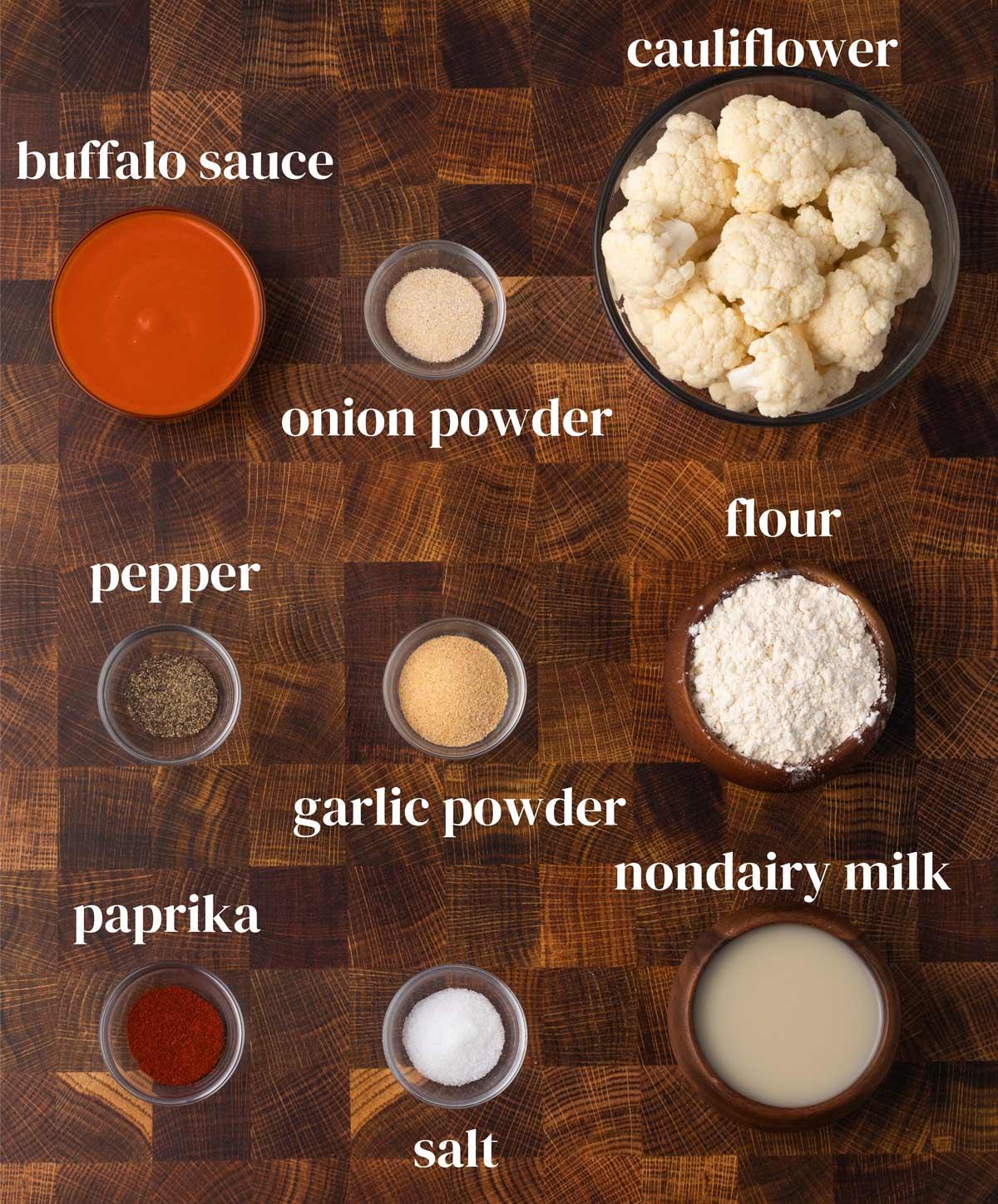 Ingredients for buffalo cauliflower wings.