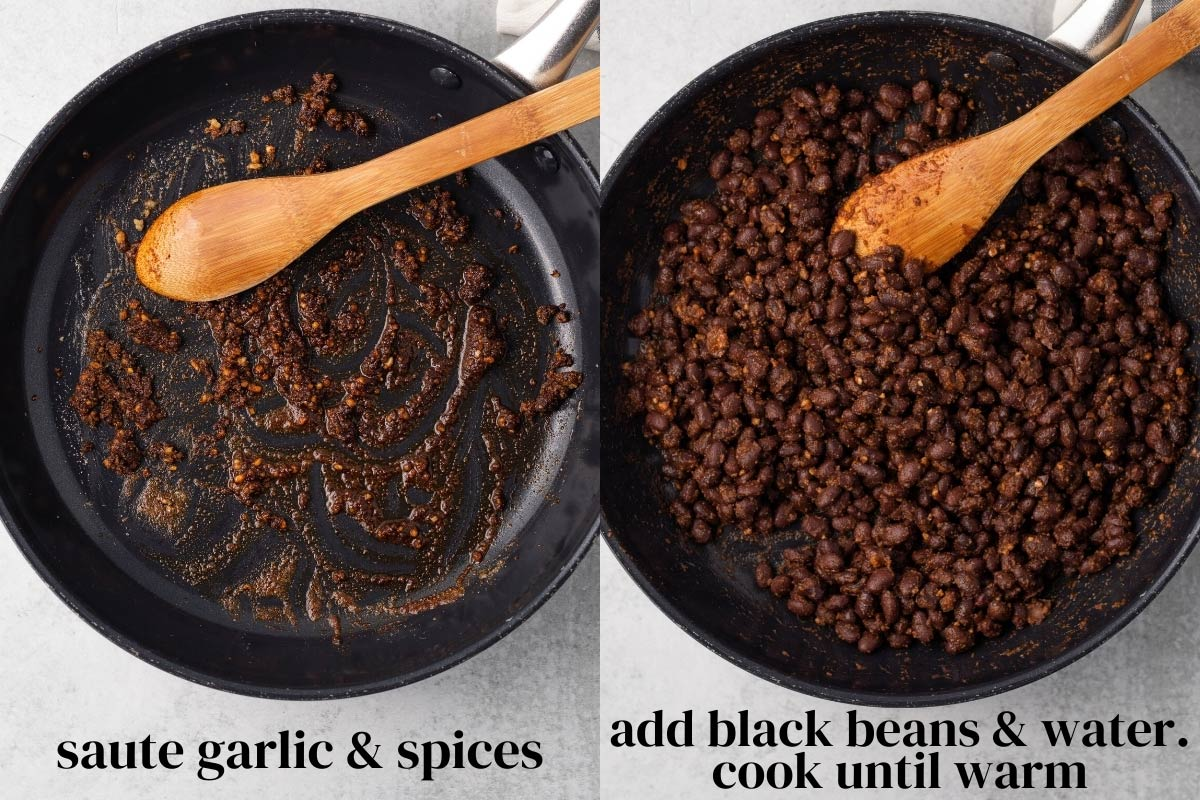 steps to make vegan black bean taco filling in a skillet on the stove
