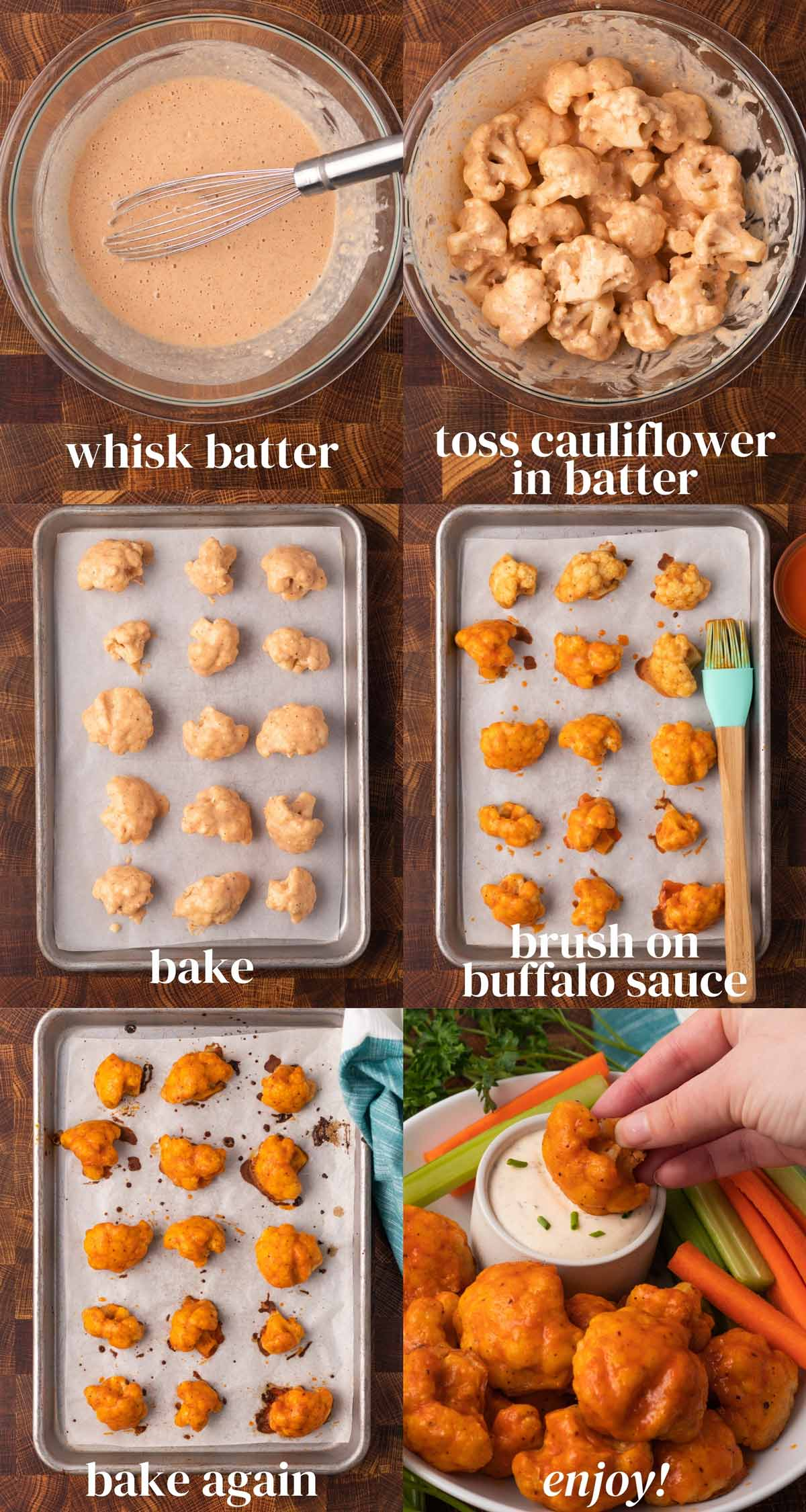 step-by-step process for making cauliflower bites.