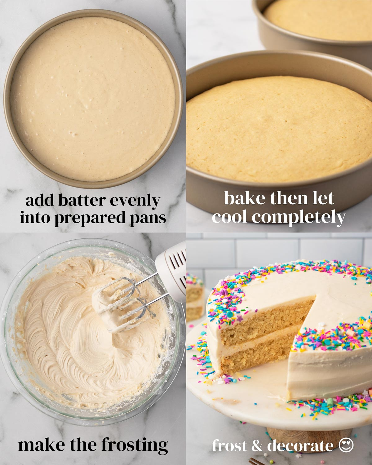 steps to cool vanilla cake and make buttercream frosting and decorate vegan layer cake