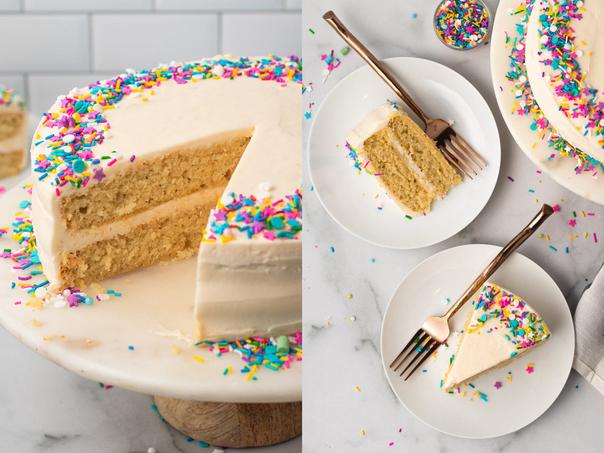 A collage of two images of frosted vanilla cake with sprinkles.