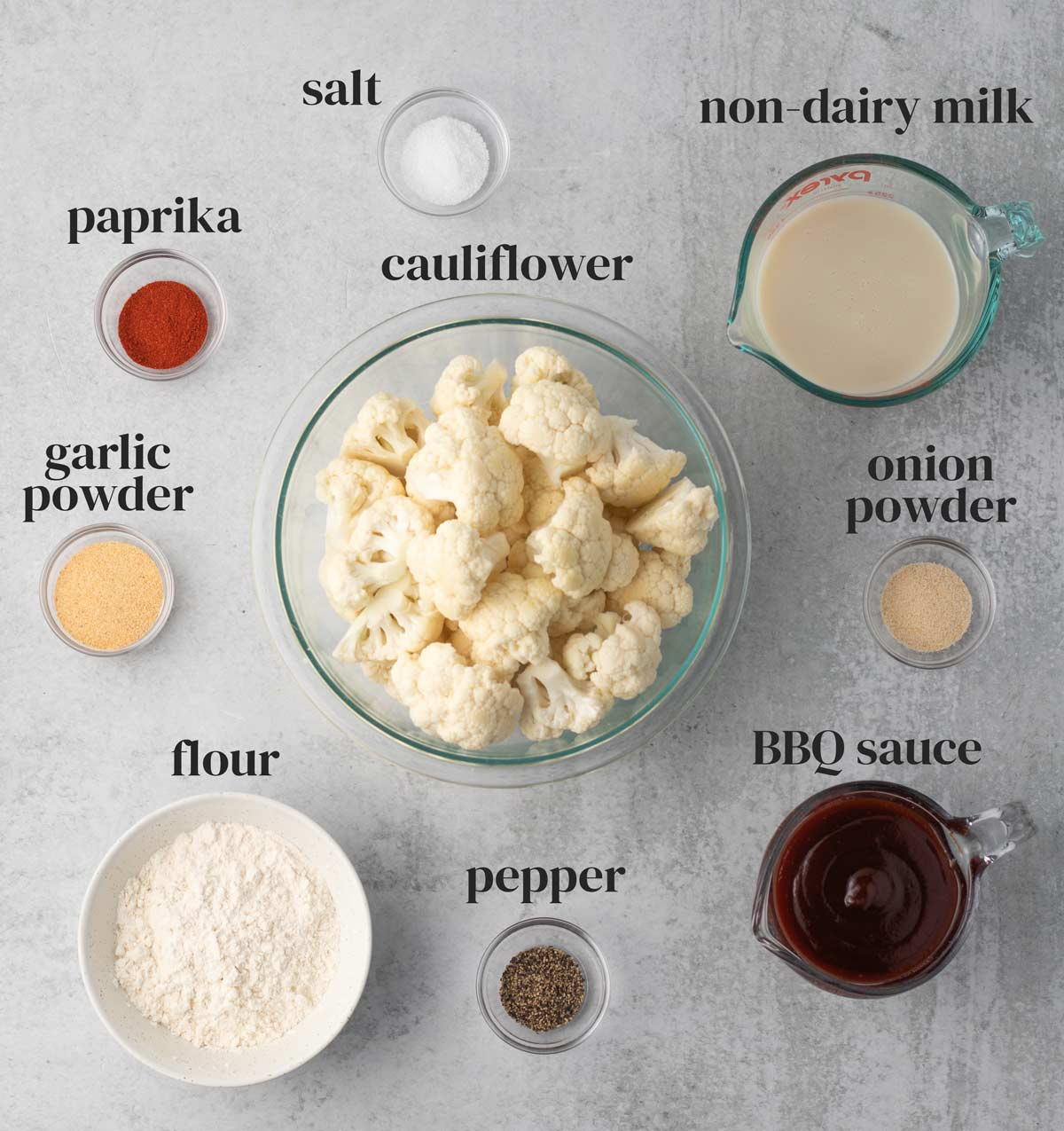 ingredients for barbecue cauliflower wings