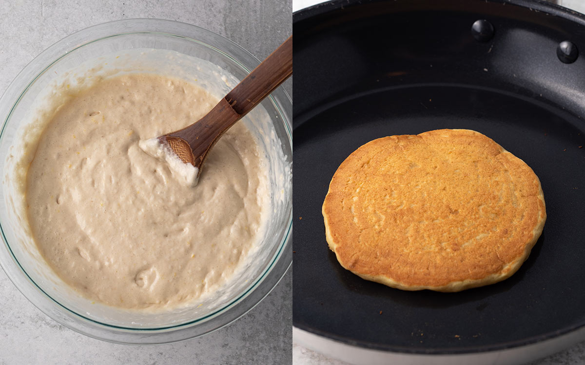 collage of batter for vegan lemon pancakes and a cooked pancake on a griddle