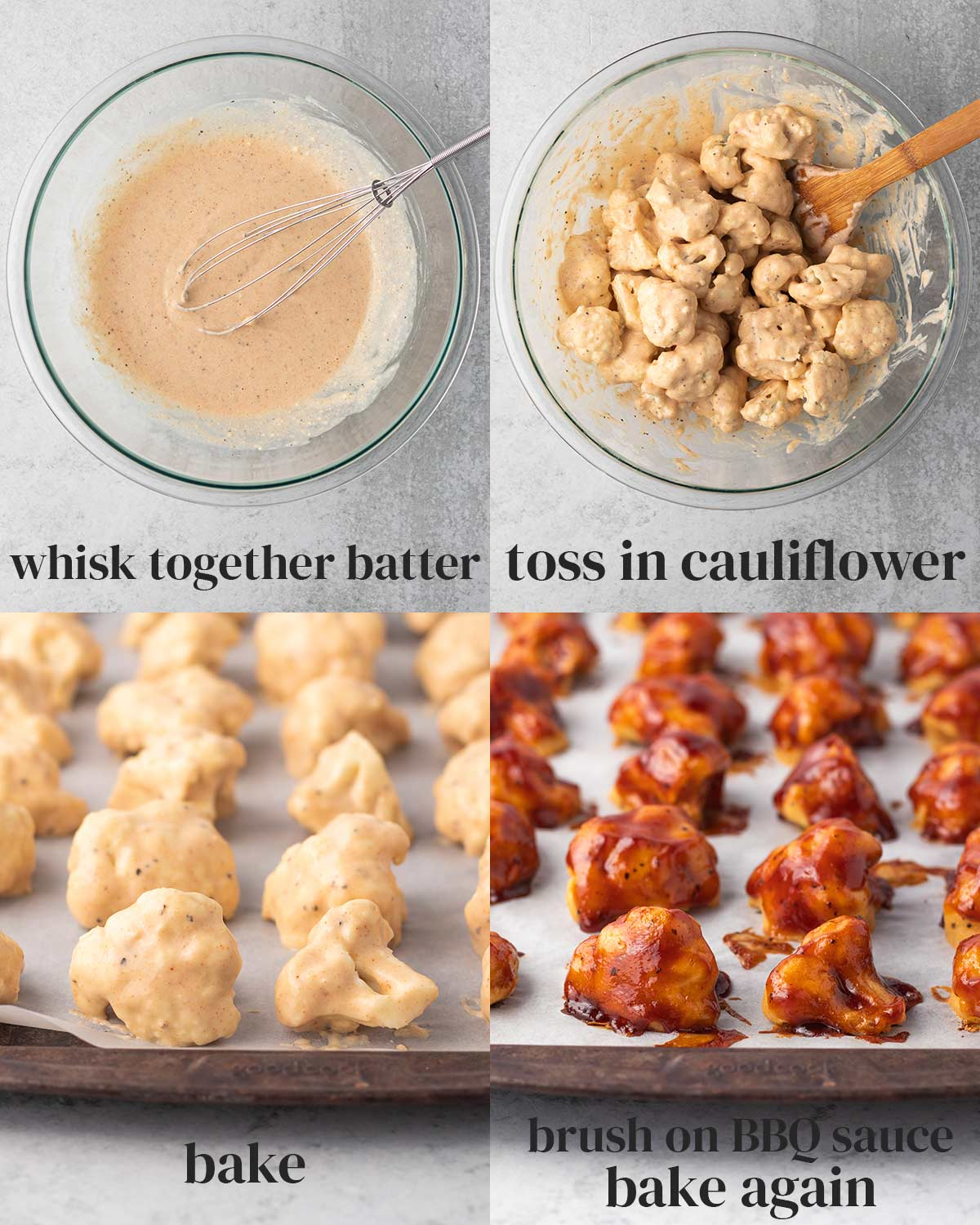 collage of the steps to bake bbq cauliflower wings in an oven.