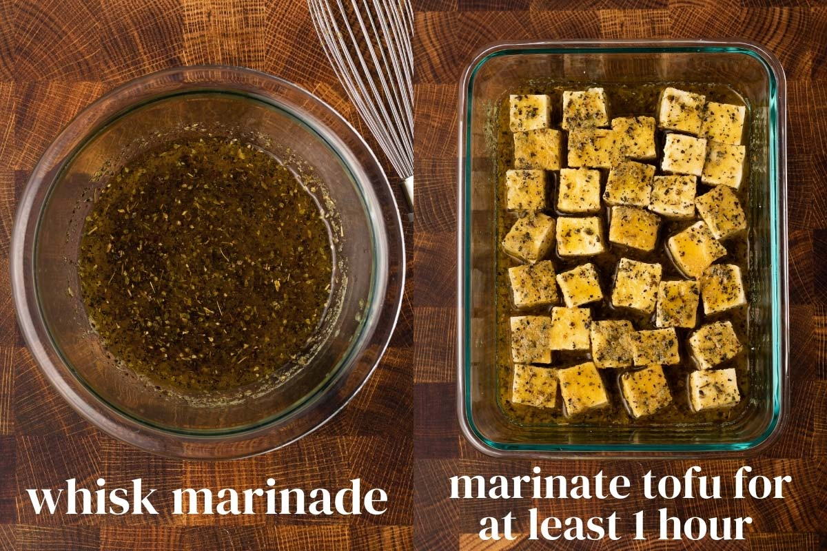 collage of the steps to make and marinate tofu to turn into feta