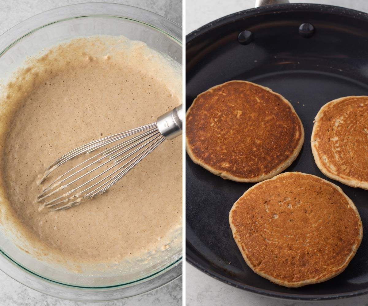 collage of the batter and cooking oat flour pancakes