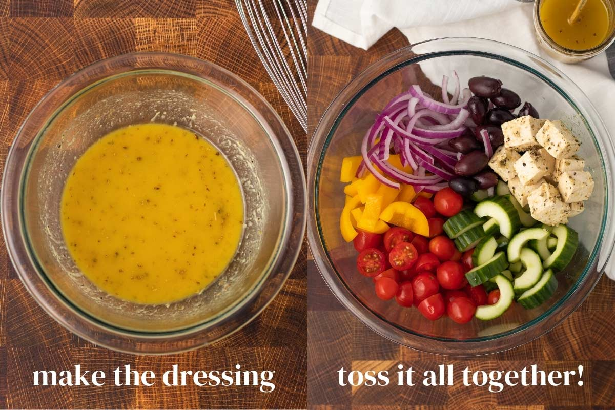 A collage of 2 images: A bowl of greek dressing and prepared salad.