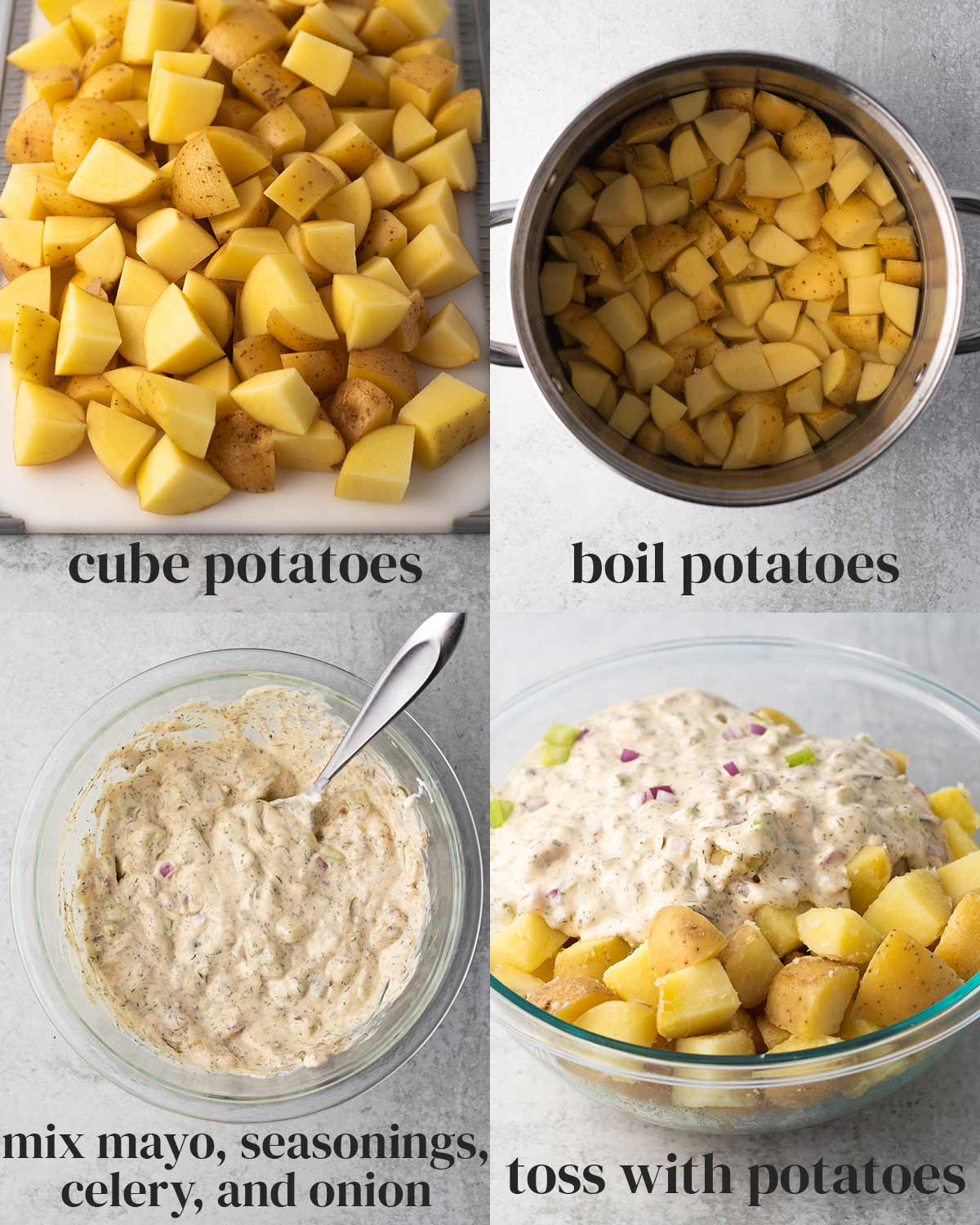 collage of the steps to make easy vegan potato salad with creamy dairy-free salad dressing
