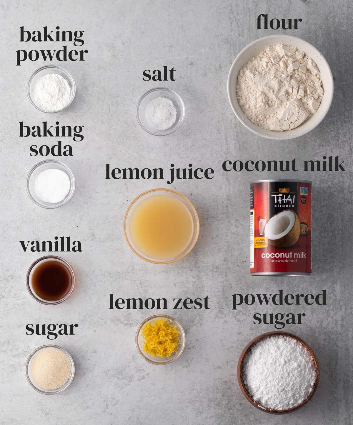 ingredients for vegan lemon coconut pancakes in small bowls