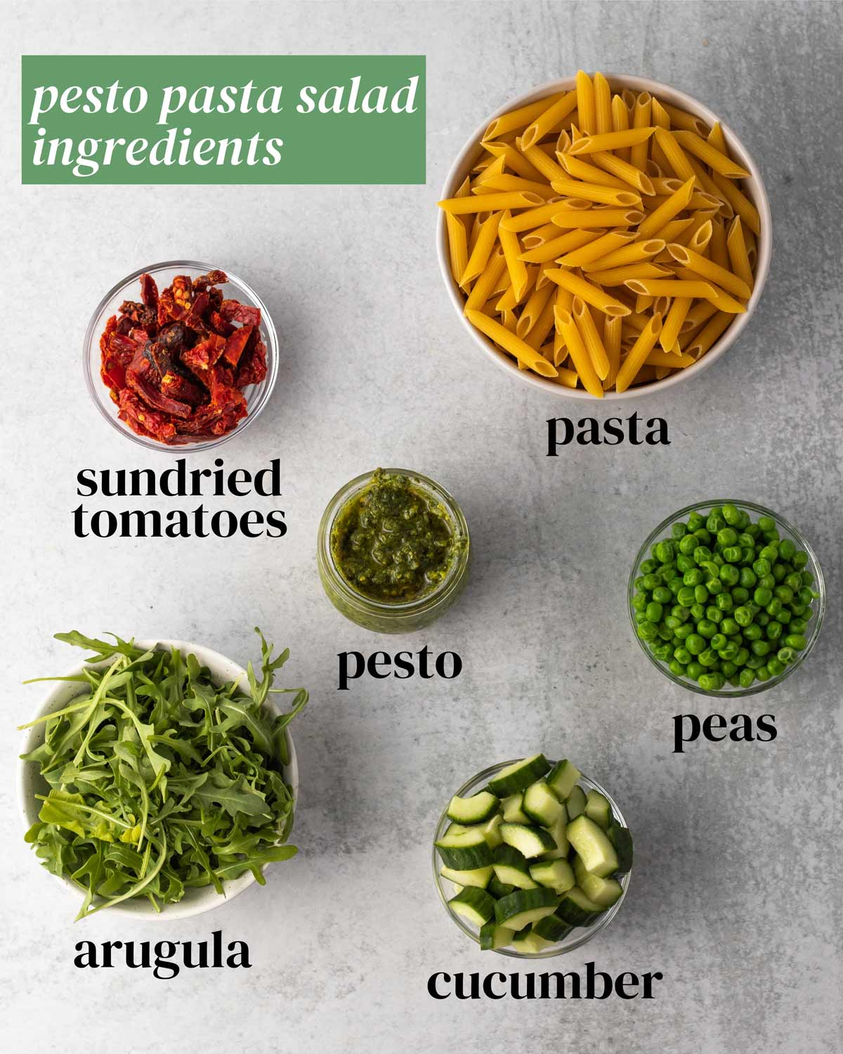 Ingredients for pasta salad with pesto.