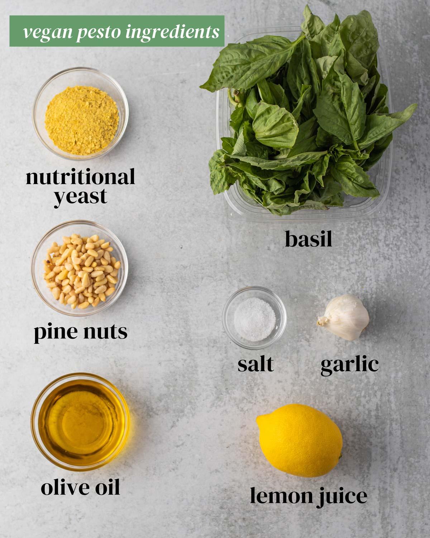 overhead of the ingredients for vegan pesto: basil, pine nuts, nutritional yeast, garlic, salt and lemon juice