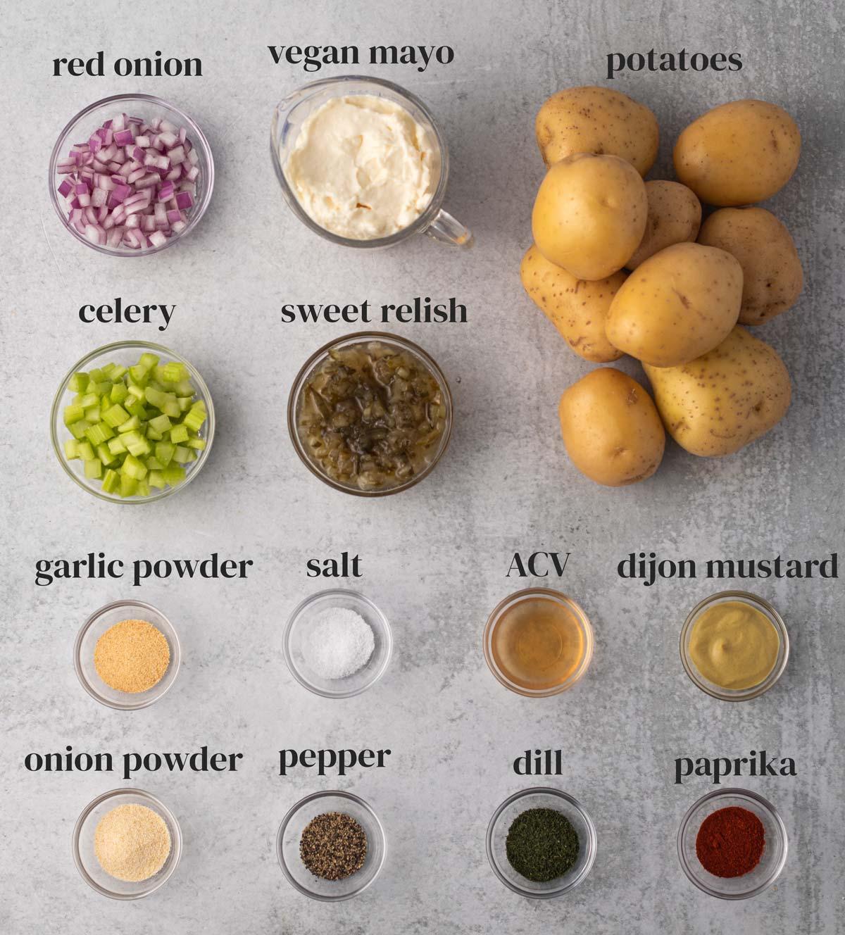 ingredients for potato salad with vegan mayo, celery, onions, seasonings and dijon mustard
