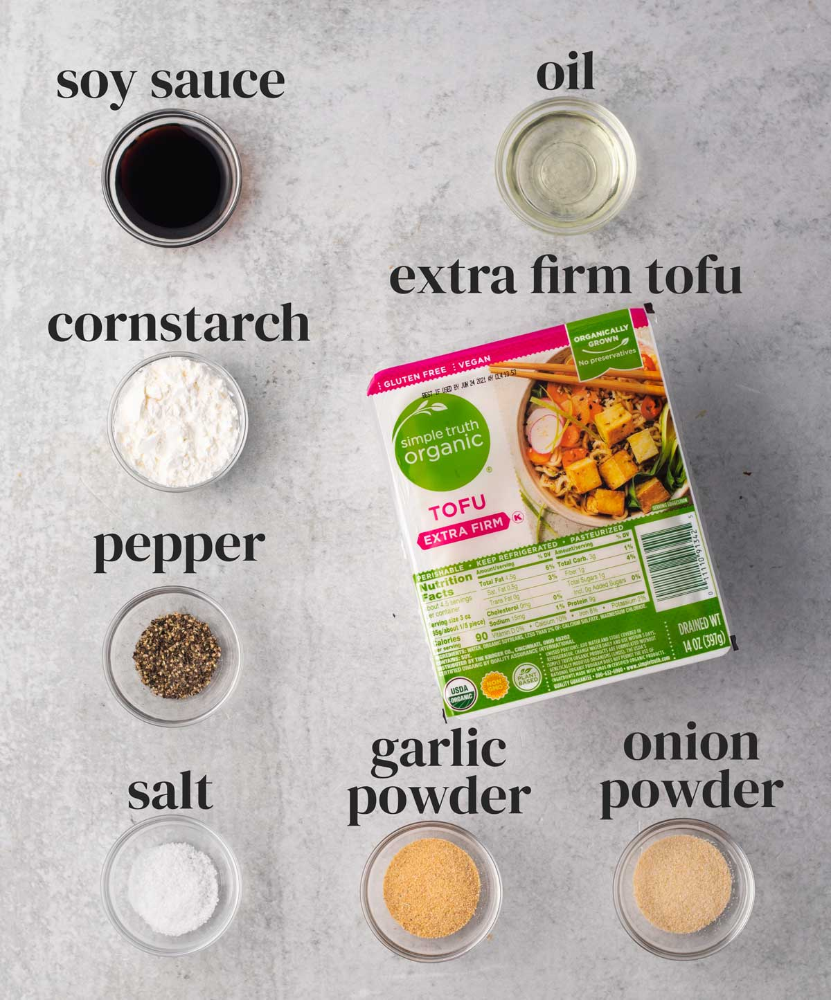 ingredients for vegan baked tofu with soy sauce and garlic powder