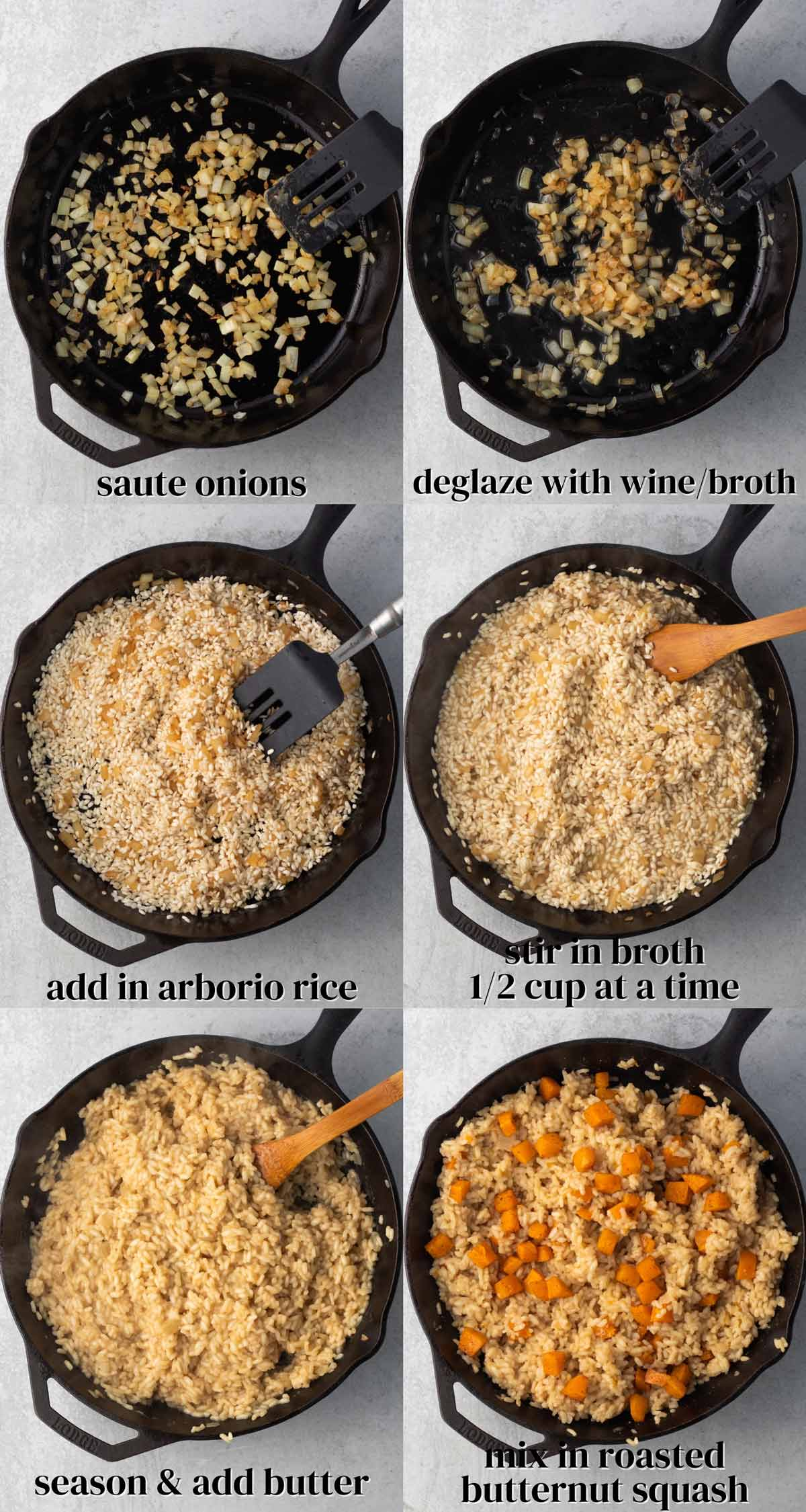 collage of the steps to make roasted butternut squash risotto with arborio rice