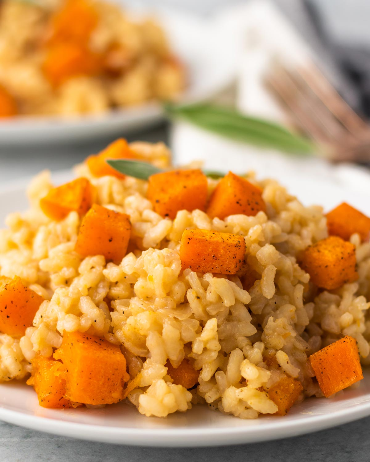 close up on a bowl of vegan butternut squash risotto with sage