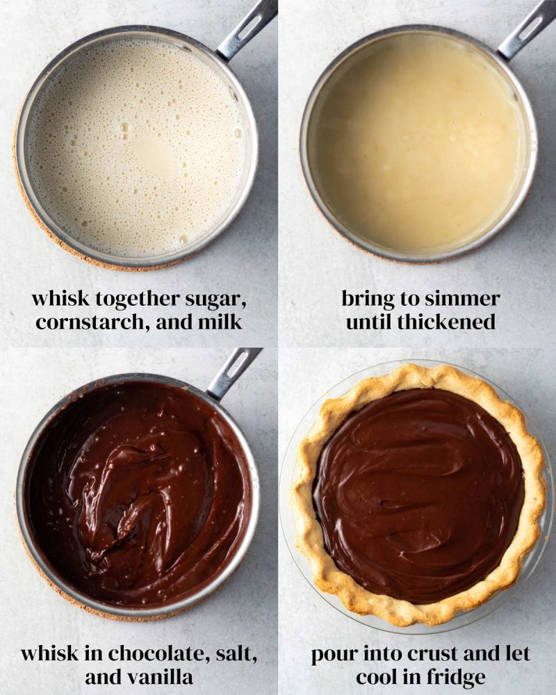 Collage of the steps to make and fill vegan chocolate pie.