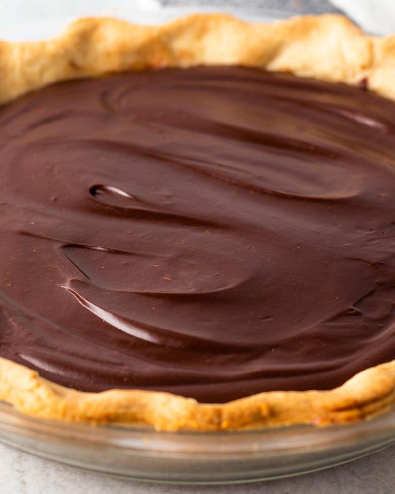 close up on vegan chocolate pie